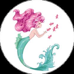 Beautiful Mermaid with Pink Hair Sticker