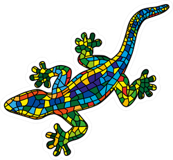 Beautiful Mosaic Colored Lizard Sticker