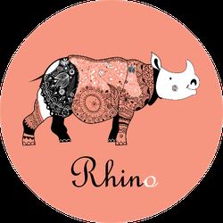 Beautiful Patterned Rhinoceros Sticker