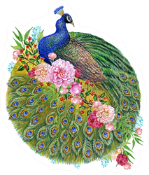 Beautiful Peacock And Flowers Watercolor Illustration Sticker