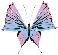 Beautiful Pink, Blue and Black Butterfly Sticker
