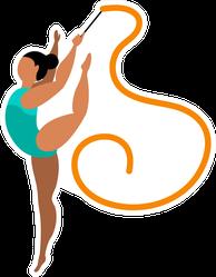 Beautiful Rhythmic Gymnast Illustration Sticker