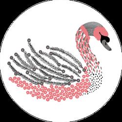 Beautiful Romantic Dreaming Swan Art Sticker