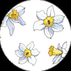 Beautiful Seamless Daffodil Floral Pattern Sticker