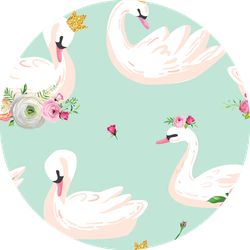 Beautiful Seamless Pattern With White Swans In Crowns Sticker