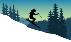 Beautiful Skiing Landscape Sticker