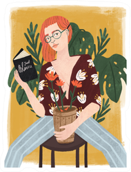 Beautiful Stylish Redhead Woman Reading A Book Sticker