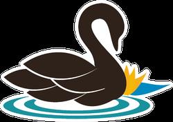 Beautiful Swan Illustration Swimming Near The Water Lily Sticker