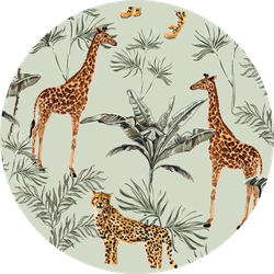 Beautiful Tropical Pattern With Giraffes Sticker