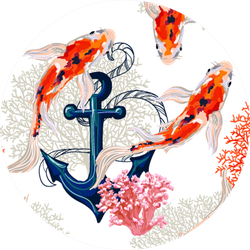 Beautiful Tropical Pattern With Koi Fish And Anchor Sticker