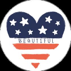 Beautiful USA Heart Sticker