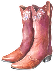 Beautiful Watercolor Cowgirl Boots Sticker