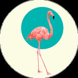 Beautiful Wild Bird Pink Flamingo On Green Sticker