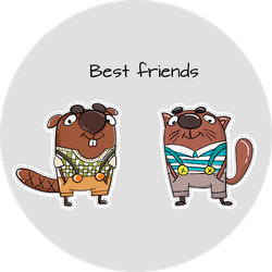 Beaver Best Friends Sticker