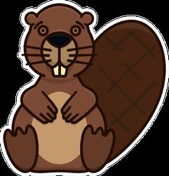 Beaver Character Illustration Sticker