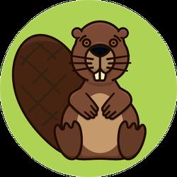 Beaver Character On Green Sticker