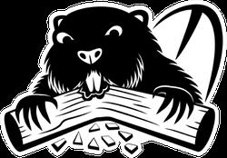 Beaver Chomping On Wood Sticker