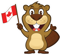 Beaver Holding Canadian Flag Sticker