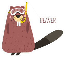 Beaver In Diving Mask Cartoon Sticker