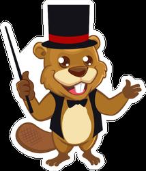 Beaver Magician Mascot Cartoon Sticker