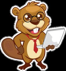 Beaver Mascot Cartoon In Tie Holding A Laptop Sticker