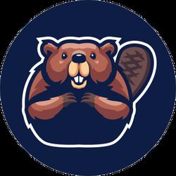 Beaver Mascot Logo On Navy Sticker