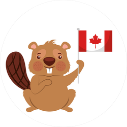 Beaver Of Canada Waving Flag Sticker