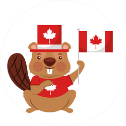 Beaver Of Canada With Hat And Flag Sticker