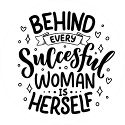 Behind Every Successful Woman Is Herself Sticker