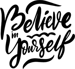 Believe In Yourself Hand Lettering Sticker