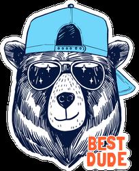 Best Dude Cool Bear Sticker