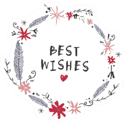 Best Wishes Floral Design Sticker