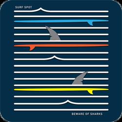 Beware Of Sharks Surf Sticker