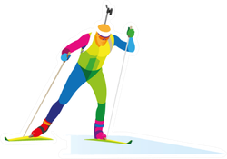 Biathlete Competition On Skis Sticker