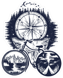 Bicycle And Mountains Adventure Sticker