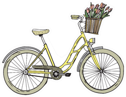 Bicycle With Flowers Sketch Cartoon Illustration Sticker