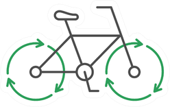 Bicycle With Recycle Arrows Line Icon Sticker