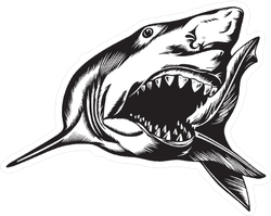 Big Aggressive Shark With Open Mouth Sticker