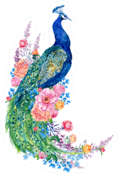 Big Bird And Peacock Flowers Hand Painting Sticker