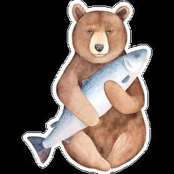 Big Brown Alaskan Bear Holding Huge Gray Fish Sticker