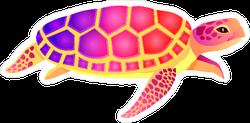 Big Colorful Turtle Sticker