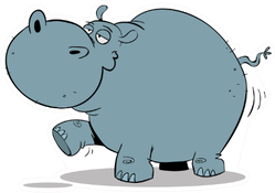 Big Fat Hippo Walking Sticker