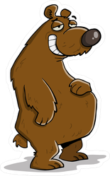 Big Fat Smiling Lazy Bear Sticker