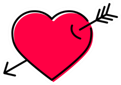 Big Red Heart With Arrow Through It Sticker