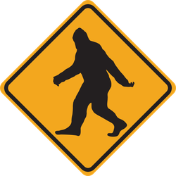 Bigfoot Crossing Caution Sign Sticker