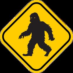 Bigfoot Crossing Sign Sticker