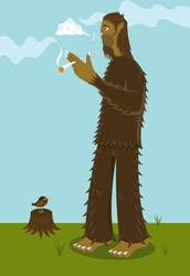 Bigfoot Smoking Weed Sticker