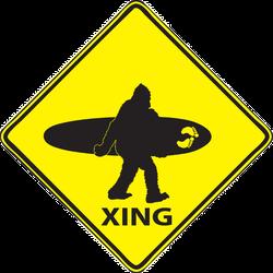Bigfoot Surfing Sign Sticker