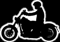 Biker Driving A Motorcycle Silhouette Sticker