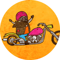 Biker On A Chopper Motorcycle Cute Sticker